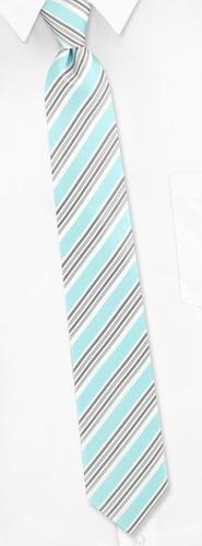 Four Stripe Skinny Tie by Silk Rhino Neckwear -  Aqua Polyester