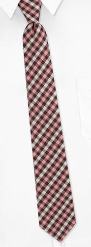 Irvine Check Skinny Tie by Silk Rhino Neckwear -  Brown Microfiber