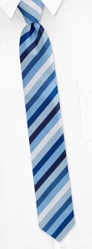 Bowery Diagonal Stripe Skinny Tie by Silk Rhino Neckwear -  Blue Microfiber