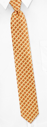 Trinity Plaid Skinny Tie by Silk Rhino Neckwear -  Yellow Microfiber